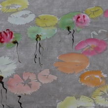 Lily Pond, woodblock monotype